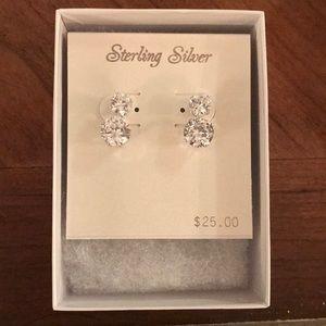 NWT 2 pairs sterling silver rhinestone earrings
